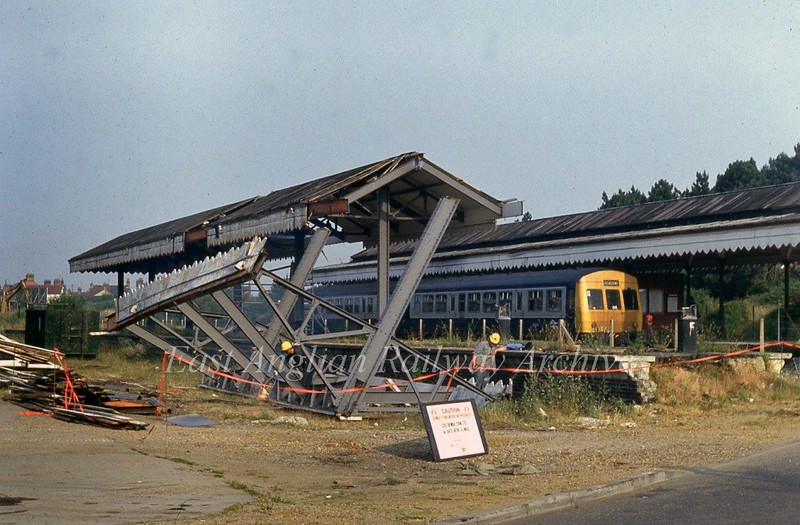 Removing the island platform at Felixstowe Town Station on 13th July 1984. <br /> <br /> Image with kind permission of Stuart McNae.
