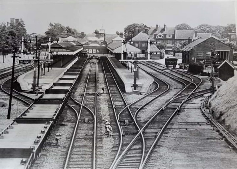 Another view of Felixstowe Town from Garrison Lane bridge.<br /> <br /> The photo is undated, but it is pre 1970 as the signal box was decommissioned on 13th may of that year. <br /> <br /> Image:- Thanks to Sarah Hall.