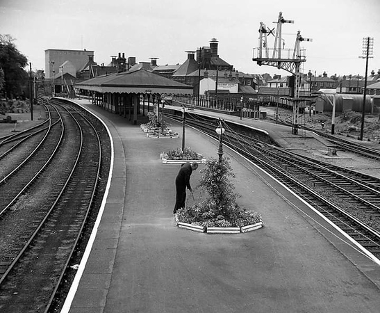 Beccles, facing south c1960.  A member of staff  attends to the flower beds  during a quiet period between rail operations. These were the days of the Best Kept Station awards.