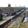 Oulton Broad South from the road bridge on 11th March 2009 facing Beccles. The Down platform is no longer in use, the station buildings now used as a hairdressers.