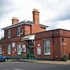 Halesworth exterior view on 3rd July 2008. The station was originally part of the Halesworth, Beccles and Haddiscoe Railway and is of different design to the standard East Suffolk Railway architecture. It was severely damaged by enemy action during world war 2.