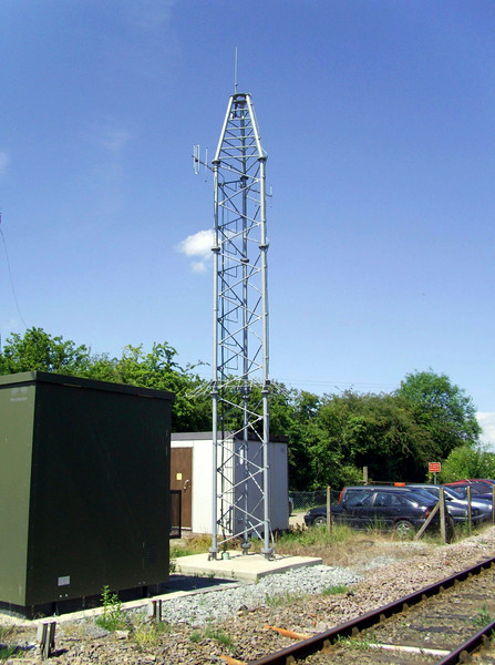Radio Electronic Token Block repeater mast at Brampton. Image dated 12th June 2009.