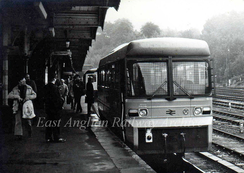 The Leyland Experimental Vehicle RDB975874 was trialed on the East Suffolk Line during 1980. It stands at Ipswich in October of that year after arrival from Lowestoft