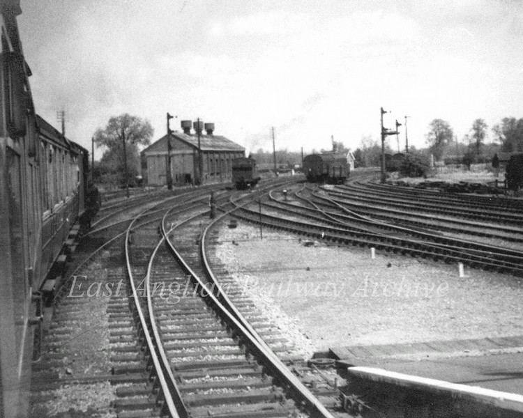 Leaving Beccles for Yarmouth. The engine shed is prominent in the distance. Photo Brian Leighton.  Date unknown, but probably around 1959 when the Yarmouth South Town line closed. Looking at the number of tracks in the picture it's quite remarkable that today there is basically only one remaining, two if you count the station passing loop.