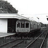The 1050 Lowestoft to Ipswich stands at Halesworth.  18th June 1977