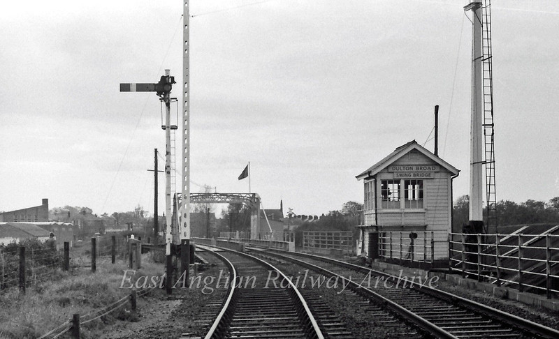 Oulton Broad Swing Bridge Signal Box, controlled the swing bridge and the signals at Oulton Broad South Station.  31st October 1976