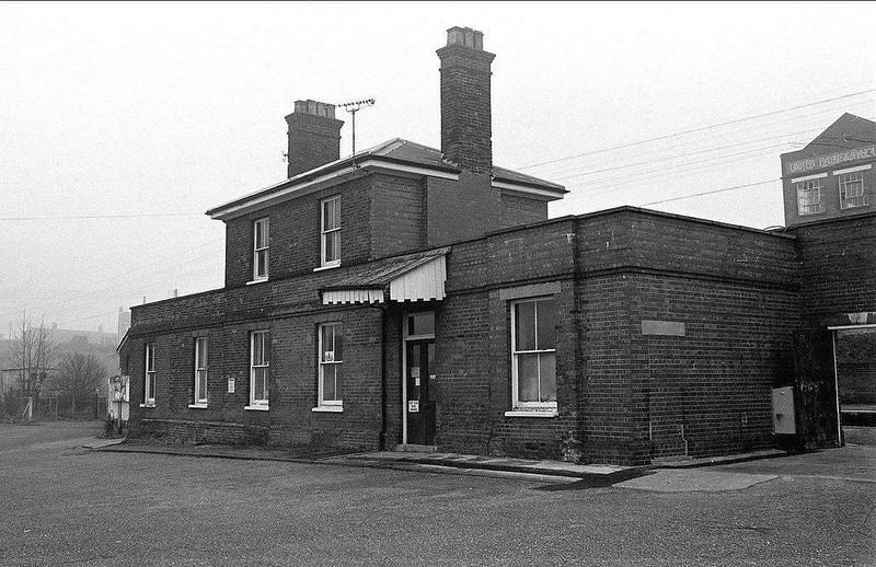 Halesworth Station exterior view. 1975.