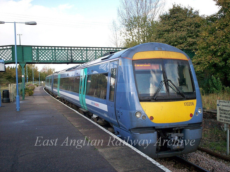 Turbostar 170206 in NXEA livery at Beccles on a Liverpool Street to Lowestoft working. 1st October 2008.