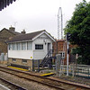 Saxmundham Signal Box now the only operational box on the line. It functions as the control centre for the Radio Electronic Token Block signalling system used on the East Suffolk Line. This was introduced on 16th February 1986. It's associated radio repeater mast can be seen to the right of the box, linked to equipment in the nearby water tower. FOOTNOTE. The RETB system is no longer operational. The OFCOM licence was rescinded. It used frequencies in the  200 Mhz band III which are used by television systems on the continent and thus prone to co channel interference. The East Suffolk system has been re engineered using conventional signalling with the control remaining at Saxmundham. The RETB system closed on 19th October 2012.  Image dated 15th June 2009
