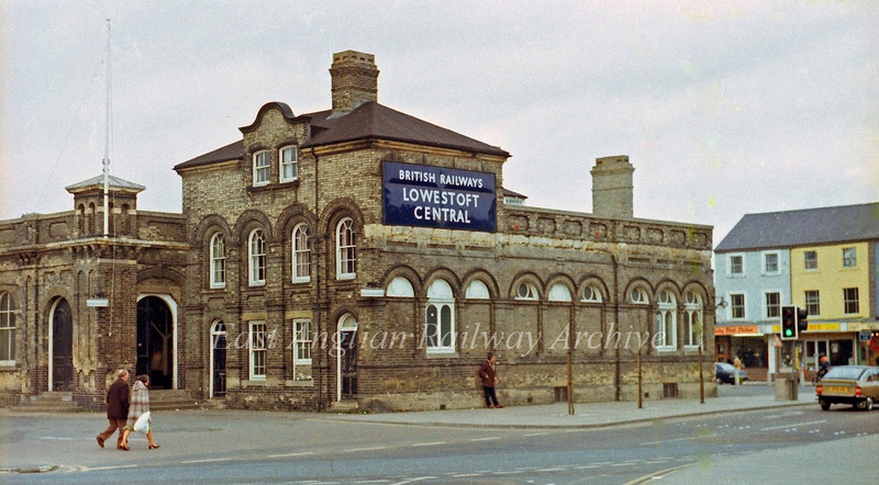 Lowestoft Central exterior view on 1st March 1980.  The blue BR Eastern Region nameboard remains to this day. To the right of the station building is the old location of KFC much frequented in the mid seventies.