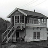Halesworth Signal Box.  21st June 1976. The box now resides at County School on the Mid Norfolk Railway after spending time at   Halesworth Middle School playing field.