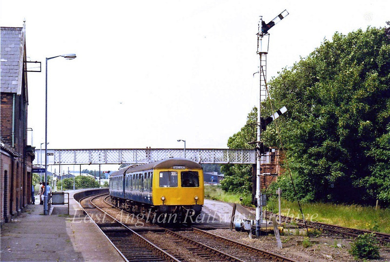 The 1450 Lowestoft to Ipswich prepares to depart Beccles on 28th June 1979.