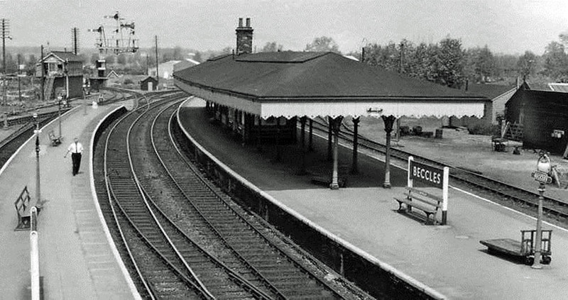 Beccles facing Lowestoft probably around the late fifties. The Beccles North Signal Box can be seen with the Waveney Valley line curving away behind the box. Compare with the previous picture.