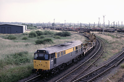 "31255 appears to ahve been freshly painted into ""dutch"" livery. as it brings atrain of empty rail carriers from Aprley yard"