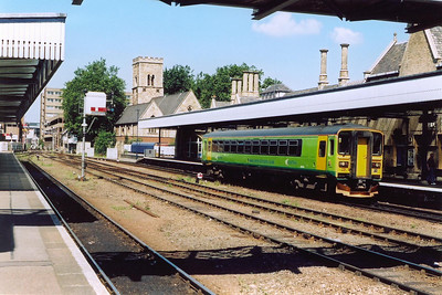 Now at Lincon station and a Central Trains bubble car, 153334, arrives at its destination with a class 2 working from Scunthorpe via Doncaster. 2P61 0810 off.