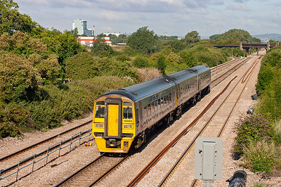 Three car sprinter 158968 heads for Cardiff with 1F04 0626 off Salisbury. It will return later bound for Portsmouth.