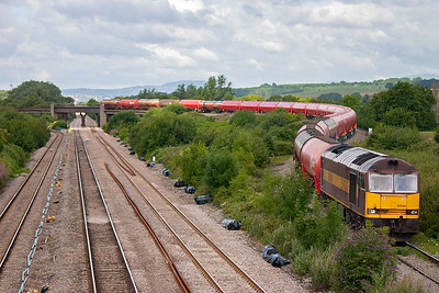 60004 snakes down from Bishton Flyover with 6B13 0533 Robeston to Westerleigh loaded bogie tanks. Most of the 25 TEA tanks are brand new having been delivered a few weeks previously.