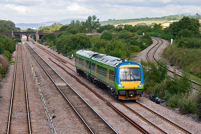 Turbostar 170505 returns passing Llandevenney with 1M58 0845 Cardiff Central to Nottingham.