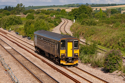 On the Up Main line is bubblecar 153377 with a class 2 local working from Cardiff to Taunton, 2C67 0900 off the Welsh capital.