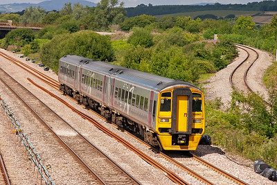158965 is employed on the Cardiff to Portsmouth Harbour diagram. Here it forms 1F11 1030 off and still retains its silver Alphaline livery despite now it being a First Group working.