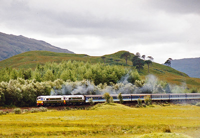 A year or so later and I'm in Glen Falloch, south of Crianlarich.  An Edinburgh to Oban railtour coughs and splutters its way up the ruling 1 in 60 gradient with a pair of class 26 locos in charge.  D5300 and D5301 make very heavy weather of it.  21/8/1991