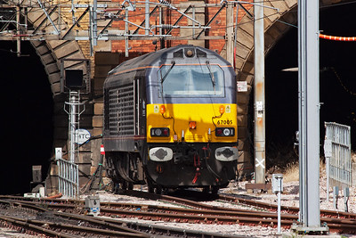 "The Kings Cross thunderbird on this day is Royal Train loco 67005 ""Queen's Messenger""."