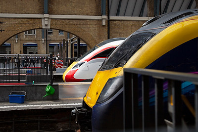 The front of a class 180 and a class 800 to compare the two.  Shame about the barrier to the right.