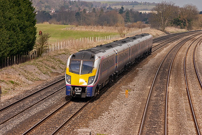 180101 is running between five and ten minutes late with service 1L22 0929 Cheltenham Spa to Paddington. This train would have taken in the Golden Valley route via Swindon and Stroud.