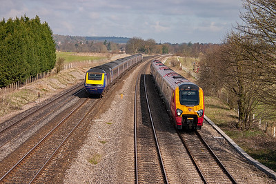 On the left is a FGW high speed train on 1L34 0730 Swansea to Paddington. Whilst on the up relief is a class 220 Voyager with a Virgin Cross Country service, 1O06 0600 Leeds to Bournemouth.