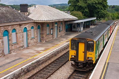 Only the class 2 local services between Maesteg and Gloucester are booked to call at Chepstow. 150267 forms one such working 2L55 1158 from Gloucester.