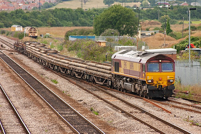 This departmental train is running about 20 minutes early. 66096 fronts 6C41 1510 Newport ADJ to Westbury Yard.