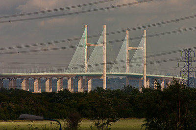 The new Severn Crossing is caught by the afternoon sun which lights the structure brilliantly.