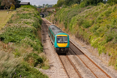 Sedbury is on the outskirts of Chepstow and 170112 passes heading for Wales and Cardiff with 1V10 0800 from Nottingham.