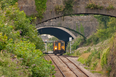 150267 passes over Wye Valley Junction at Chepstow and is for the line to Monmouth Troy which closed to passengers on 5/1/1959. The track runs only as far as Tidenham Quarry and beyond that freight was withdrawn in 1964. The unit is running as 2G56 0917 Maesteg to Gloucester. The gradient change is from 1 in 268 up to 1 in 186 down. The junction has since been taken out.