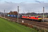 A matching pair of DB liveried class 90s (90036 and 90040) in the weak sunlight passing winwick - 4M25  Mossend - Daventry 24 November 2018