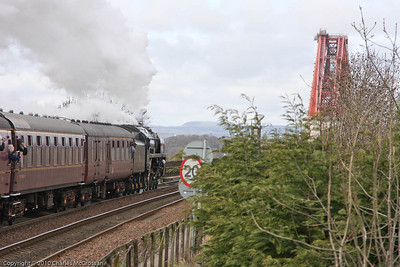 70013 Oliver Cromwell departing Dalmeny with 2nd SRPS Forth Circle charter approaching Forth Bridge