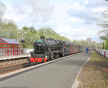 45407 on return leg of Edinburgh to Ayr Charter (Cathedrals Express headboard restored to rightful position)