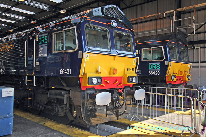 66431 and 66 420 in Kingmoor shed