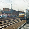 Mallard moving onto train at Doncaster with Class 90 in background