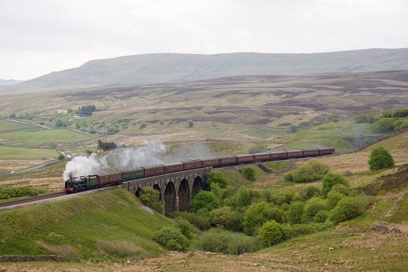 46115, Scots guardsman heads a Stevenage Carlisle excursion across Lunds viaduct 21/05/11