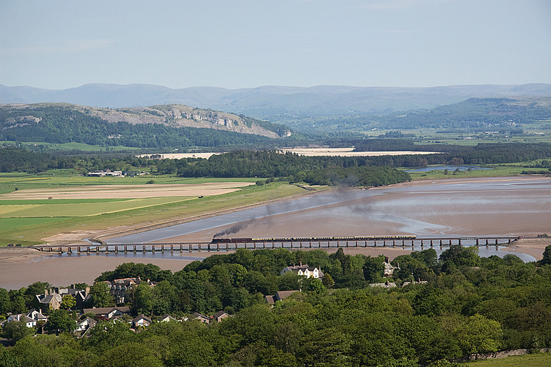 45690 Leander crossing Arnside Viaduct with Carnforth Ravenglass Cumbrian Coast Express 30/05/09