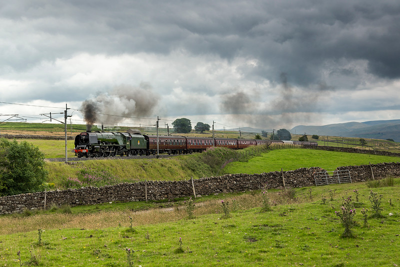 Undeterred by the cloud I headed for Shap where 46233 put in an effortless performance with only 10 coaches - passing Salterwath  23 July 2016  ( a couple of vehicles removed from the M6 in the background)