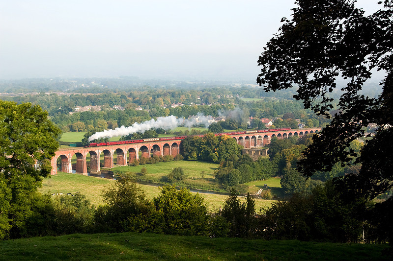 45699 Galatea crossing Whalley Viaduct 28/09/13 with a Carnforth Chester excursion