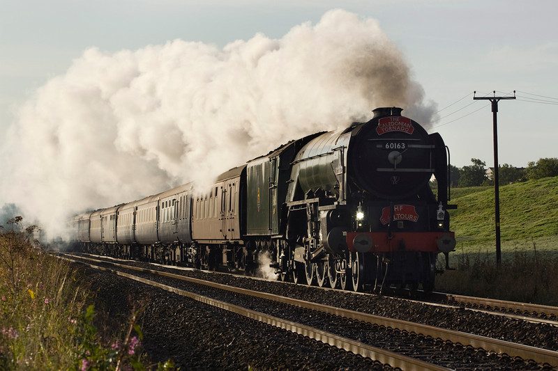 60163, Tornado heads for Glasgow from Crewe - seen passing Blackrod.   21/09/11