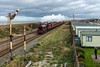 The Pink peril - Jubilee, 45699 Galatea substituting for Duchess of Sutherland races past Abergele and the soon to be replaced semaphores - 18 November 2017