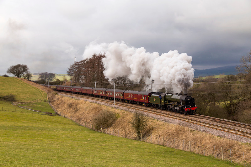 1 March 2014 and another attempt at the Cumbrian Mountain Express.   The sun stays resolutely behind a cloud as 46115, Scots Guardsman climbs to Grayrigg