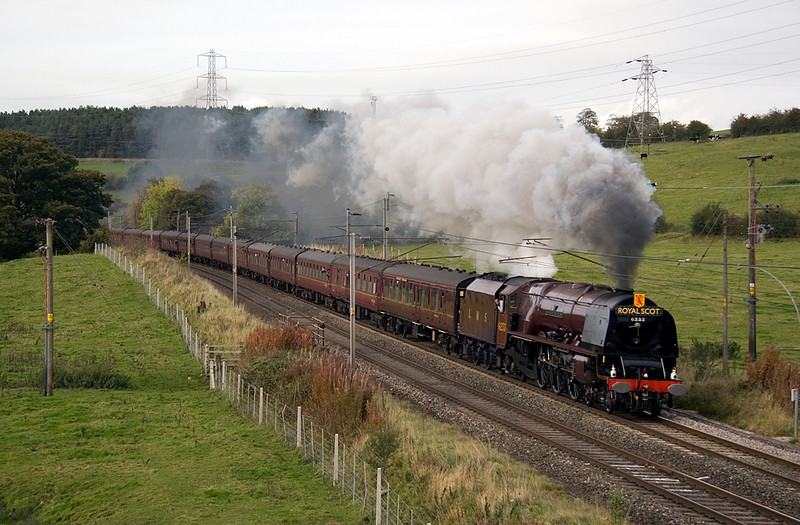 "6233 Duchess of Sutherland with Southbound ""Royal Scot"" excursion to Crewe at Little Strickland 10/10/09"