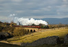 The cloud had slowly built up at Crosby Garrett, but just as the train came it cleared, unfortunately not quite enough to clear the wall in the foreground.  60009 heads south across Crosby garret viaduct witht he Cumbrian Mountain express 2 March 2013