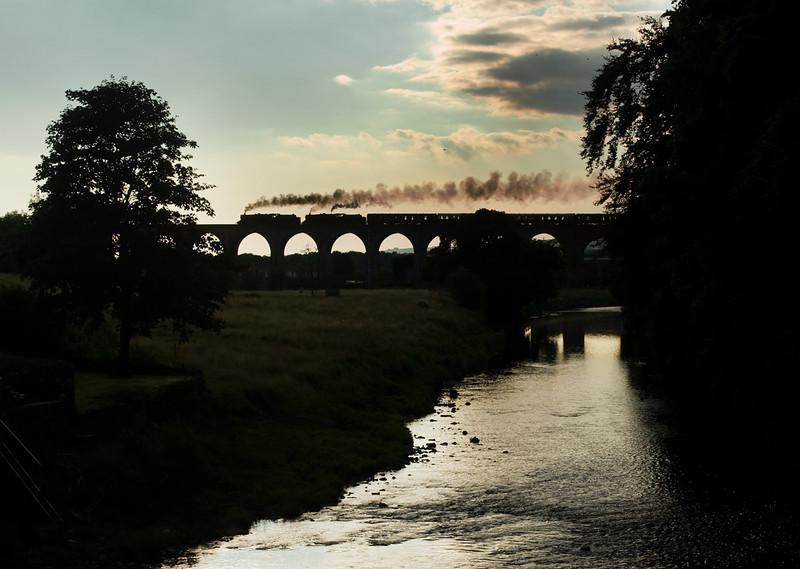 44932 and 45231 in silhouette cross Whalley Viaduct 7 August 2013