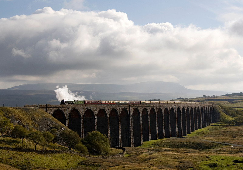 A1 60103 Tornado crossing Ribblehead Viaduct with Cumbrian Mountain express 10/10/09